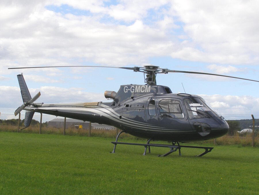 Aerospatiale 350-B3, G-GMCM, at The Helicopter Museum Helipad