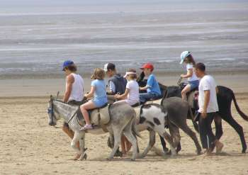 Donkeys and Riders at Weston-super-Mare