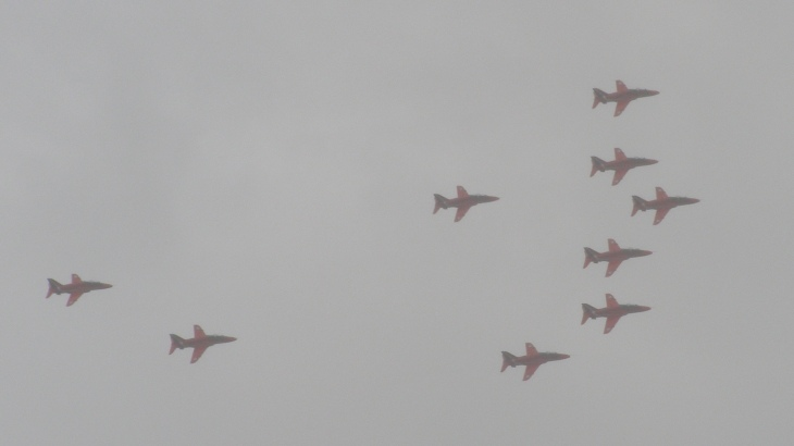 The RAF 'Red Arrows' in a squally shower