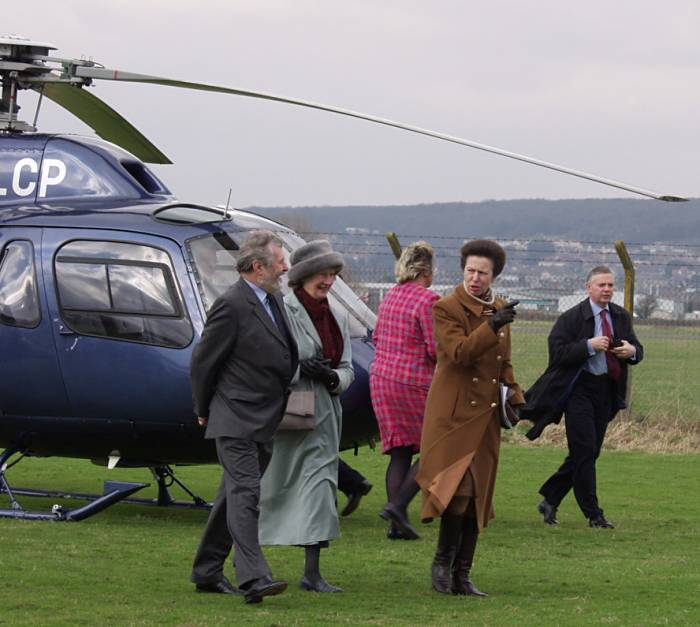 Princess Royal arrives in Twin Squirrel G-OLCP