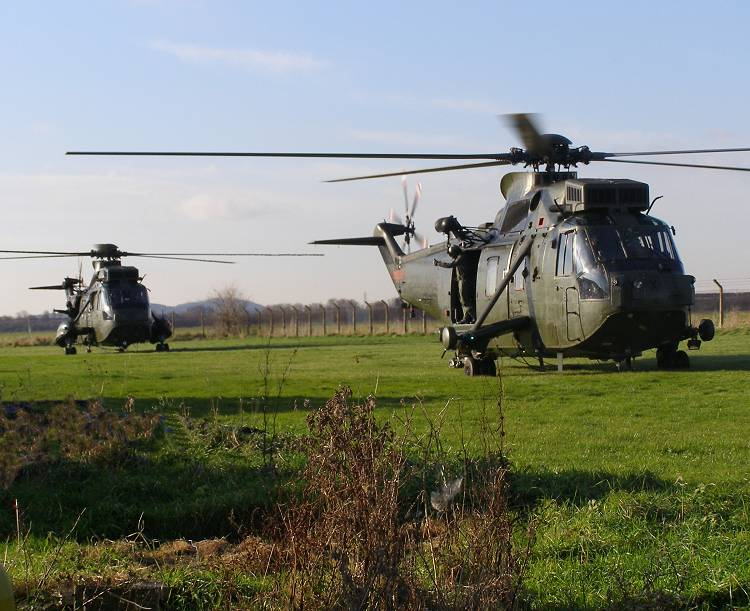 Two Sea Kings from 846 NAS, Yeovilton, at The Museum Heliport