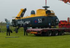 XM328 being unloaded at The Helicopter Museum in 2004