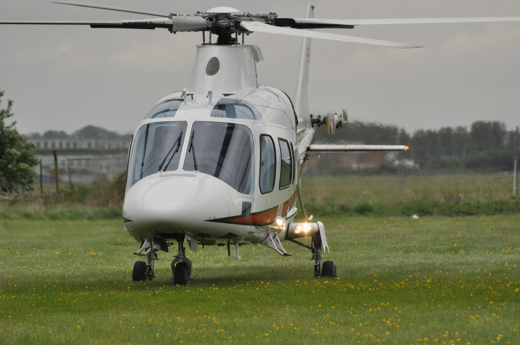 Agusta A109E Power Elite, ZR322, landing at The Museum on 8th May 2010